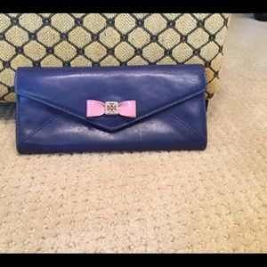 Tory Burch blue leather wallet